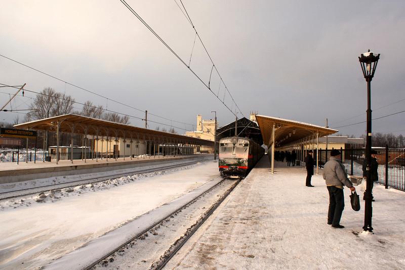 WINTER AT TRAIN STATION PETERHOF. STARY PETERGOF. RUSSIA.
