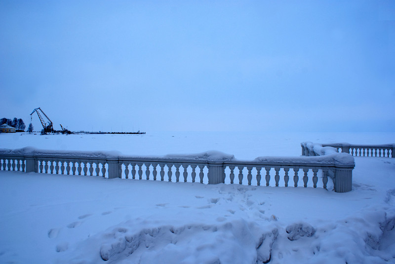 VIEW AT THE FROZEN GULF OF FINLAND FROM MONPLAISIR. PETERHOF. RUSSIA.