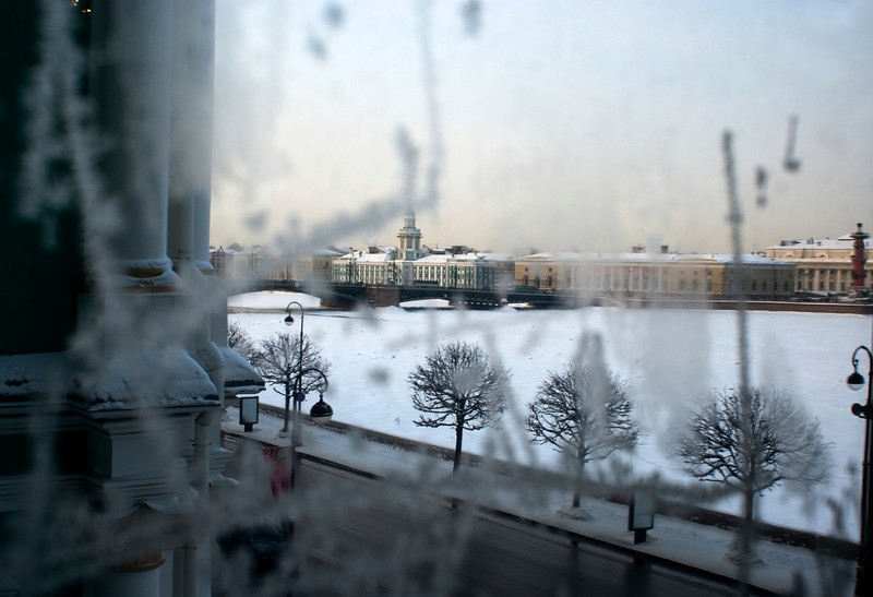 FROZEN NEVA SEEN FROM THE WINTER PALACE. THE HERMITAGE. ST. PETERSBURG.
