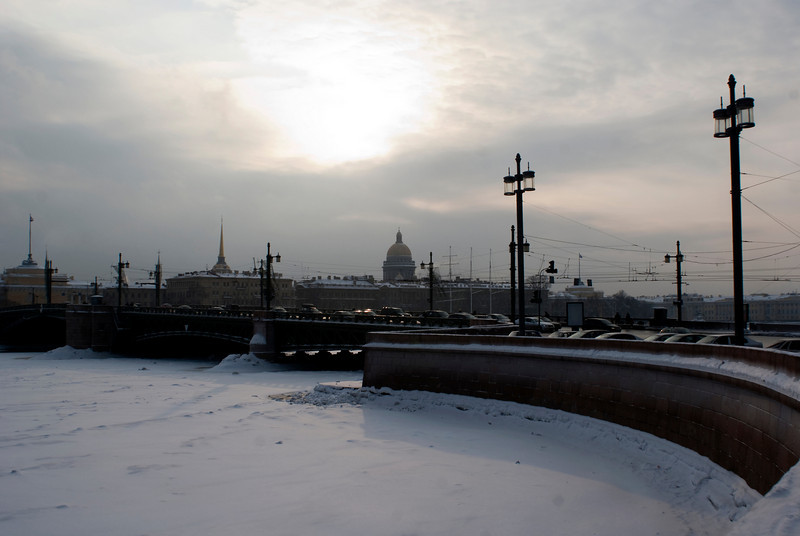 BIRZHEVOY MOST. VIEW ON THE VASILEVSKY ISLAND AND THE ST. ISAAC'S CATHEDRAL. ST. PETERSBURG.