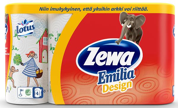 old  650199ZEWA majapidamispaber Emilia Design 4 rulli (2-kihiline)5*4 rulli6413200034067  WINTER design