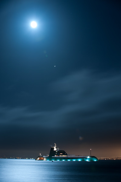 "Andrey Melnichenko's 394 foot yacht ""A"" in San Franscisco Bay near Sausalito, with the moon and Jupiter."