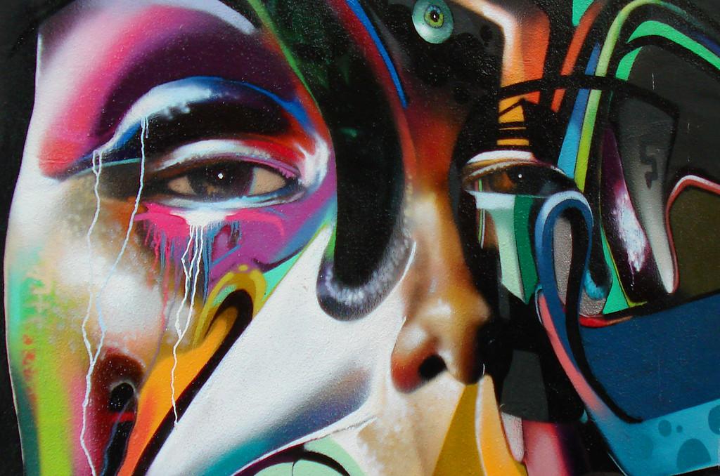 Street art spray paintings grafitti