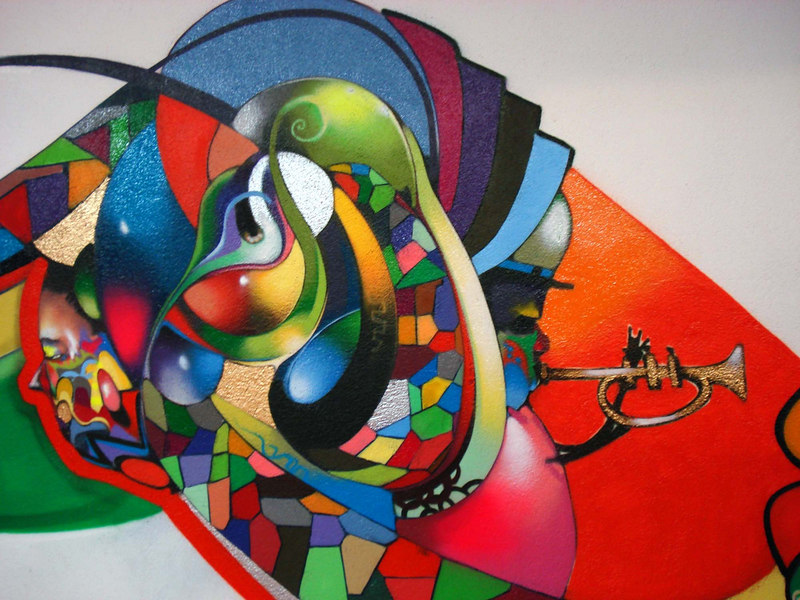 Street art spray paintings grafitti