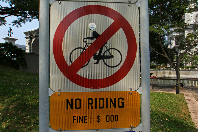 SINGAPORE. NO RIDING SIGN.