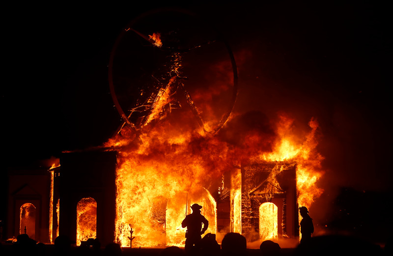 The main art piece burns at the annual Burning Man festival in the Black Rock Desert in Nevada on Sept. 3, 2016.