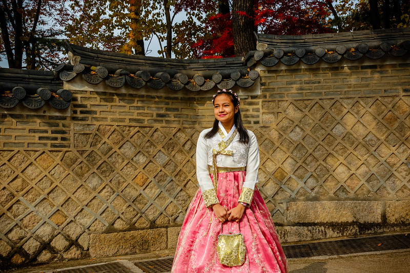 Young girl poses in a pink Hanbok dress in the gardens of Changdeokgung palace in Seoul, South Korea - Asia