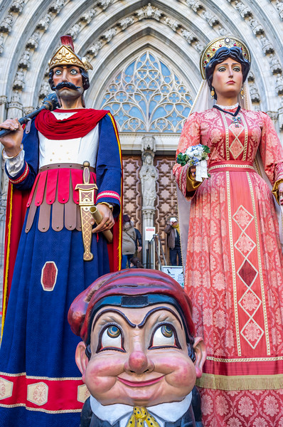 Giants and Big Head in front of the Cathedral of Barcelona, Catalonia, Spain - Europe