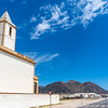 Exterior of the church of the Almadraba at the salt flats of Cabo de Gata in Andalusia, Spain