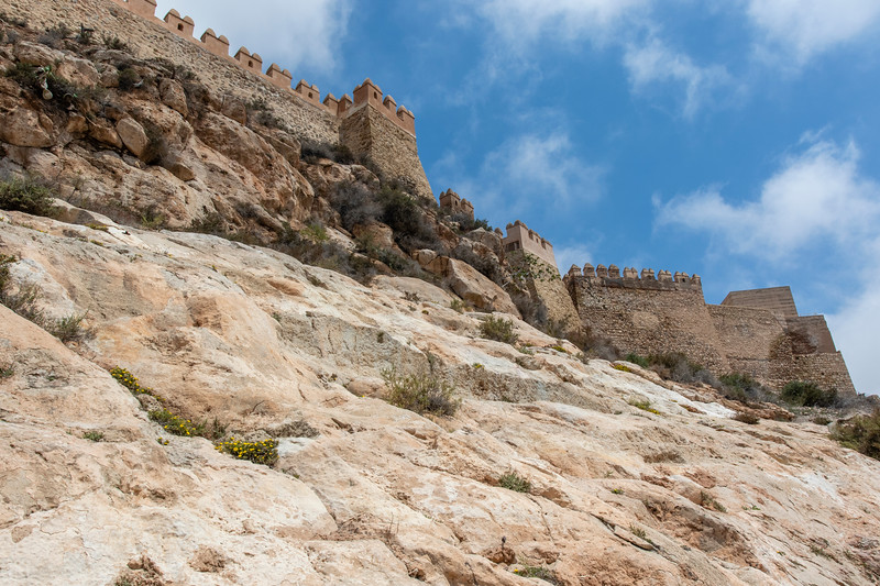 Wall of the Alcazaba of Almería, a fortified complex in Almería, n Andalusia, southern Spain, Europe