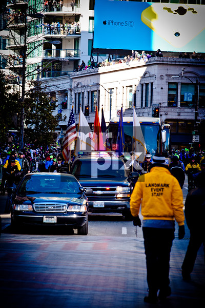 They're here! Seahawks Parade, on 4th Ave. shot on 2-5-14