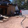 Pouring concrete back garden