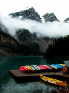"""The Lifting Fog""   Sacred Places of Earth:  Moraine Lake (Valley of the Ten Peaks)   © Copyright Ken Welsh"