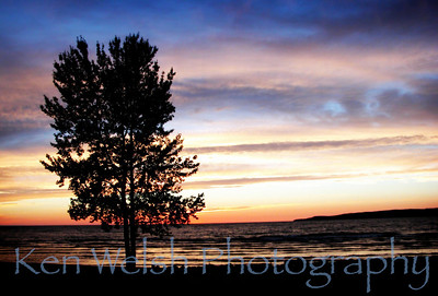 """Silhouette on a Painted Sky""  Petoskey  © Copyright Ken Welsh"