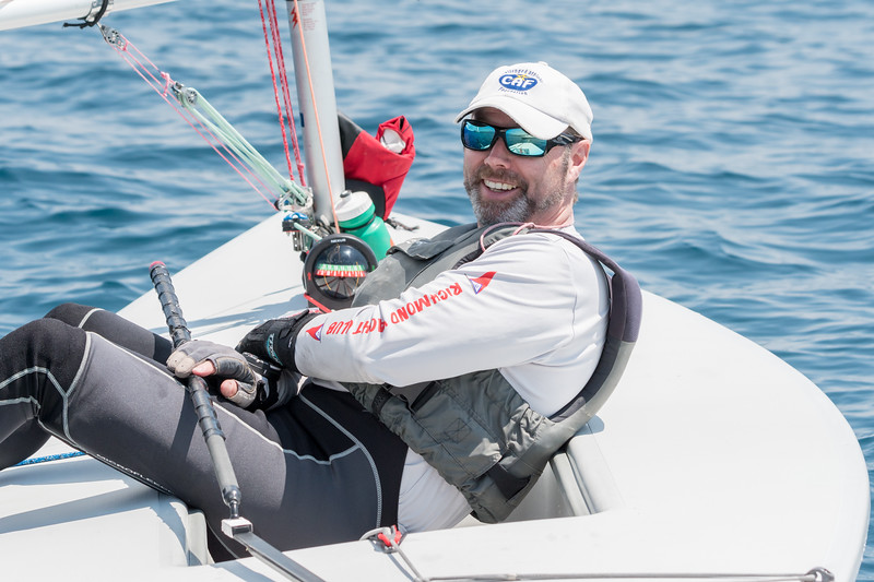Robert O'Brien relaxes while waiting for the wind to fill in.