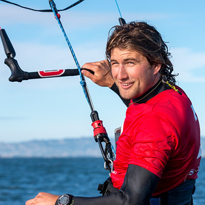 Johnny Heineken Foiling Kiteboard Racing on San Francisco Bay.