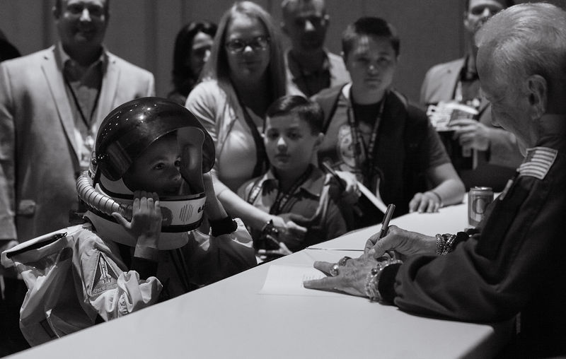 Buzz Aldrin and a future astronaut.