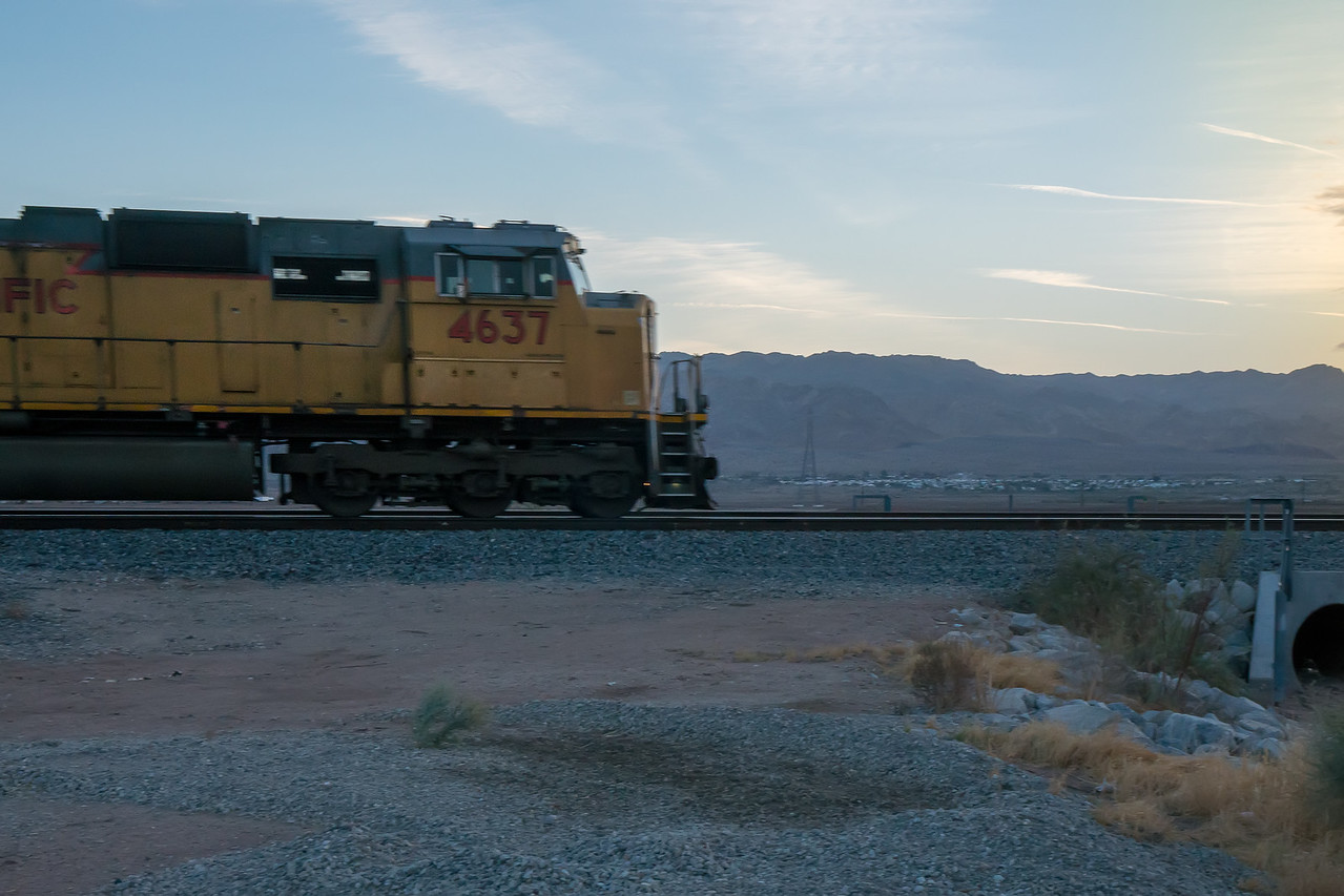 Union Pacific heading south beside CA-111
