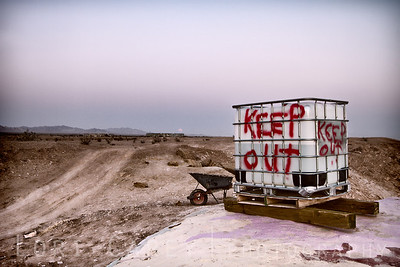 The path behind Salvation Mountain leads to the tanks in Slab City. I think the Keep Out warning was for the current construction on Salvation Mountain.