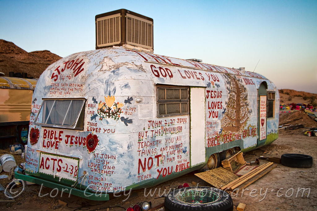 Leonard Knight's bus, painted and covered with scripture, at Salvation Mountain in the California desert near Niland.