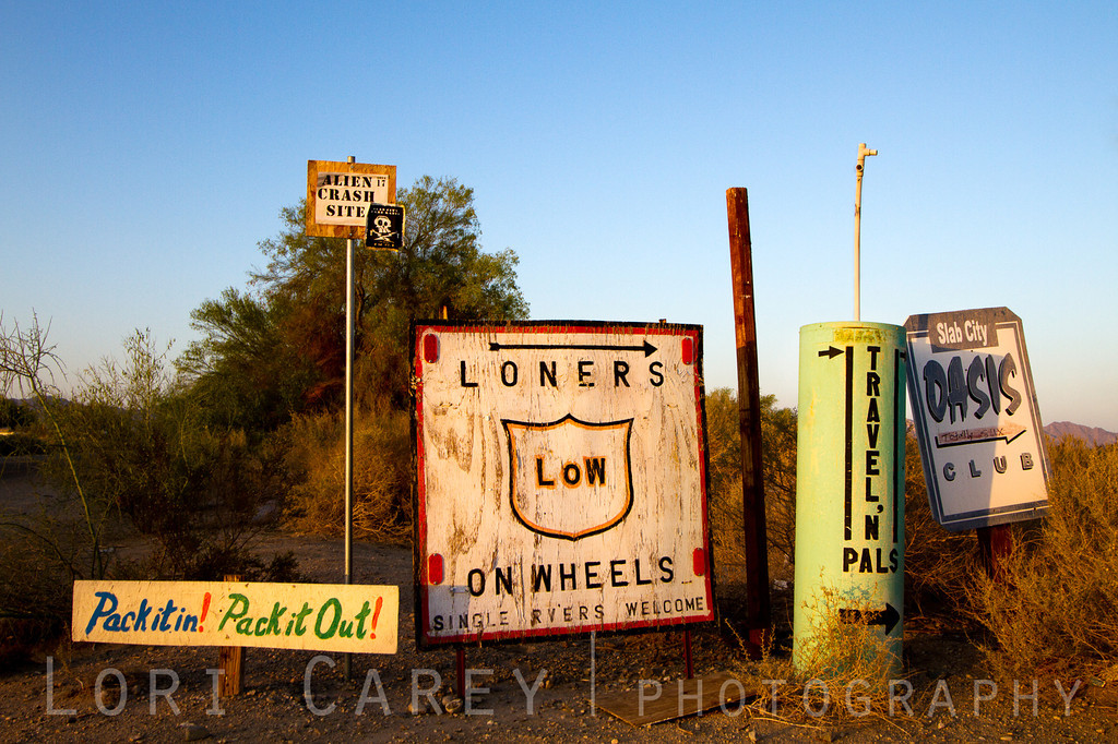 Signs at Slab City, a squatters' camp on an abandoned military base in the desert outside of Niland, California. Slab City, known as the Last Free Place in America, has seen a large increase in population due to the current economic situation of the US and California.