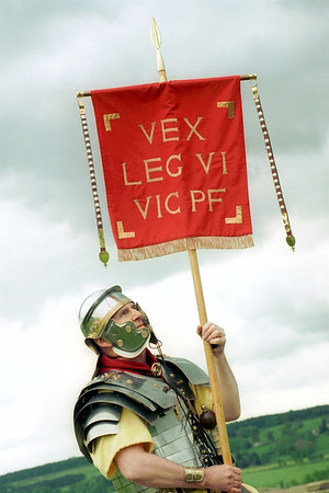 Re-enactment, in authentic period costume, of military life for a Roman Soldier in Britain stationed<br /> around the Roman ( or Hadrian's ) Wall, which stretched coast to coast from Northumberland in the east to Cumbria in the west in the second and third centuries a.d.