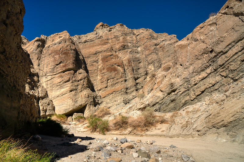 Layers of uplift with brightt red iron deposits on the San Andreas Fault