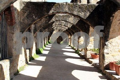 Arches and shadows at Mission San Jose (San Antonio, Texas)
