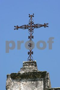 Iron cross atop Mission San Jose (San Antonio, Texas)