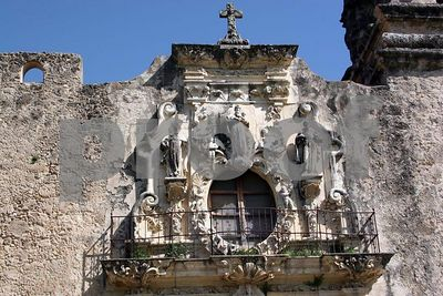 Detail of the carved stone surrounding the window about the main door at Mission San Jose (San Antonio, Texas)
