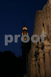 Light Above - The Alamo taken after dusk with the Emily Morgan hotel lighted in the backgraound (San Antonio, Texas)