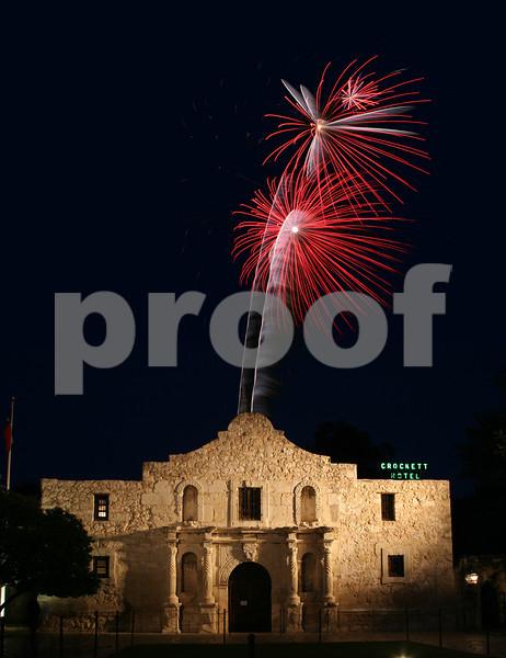 Alamo Fire - A beautiful burst of red fireworks over the world famous Alamo (San Antonio, Texas)