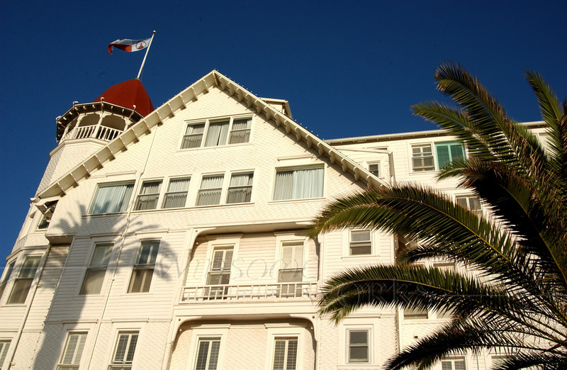 Side view of Del Coronado Hotel in San Diego, California