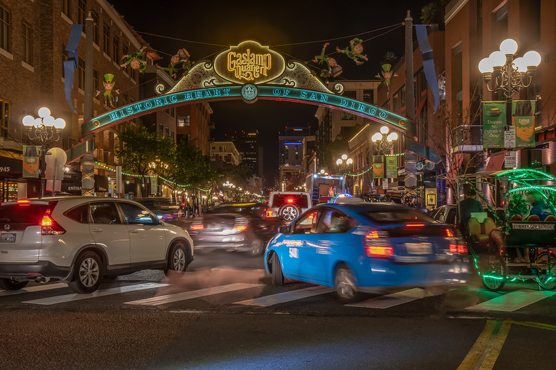 The party was in full swing with pedestrians and cars crowding into the Gaslamp Quarter