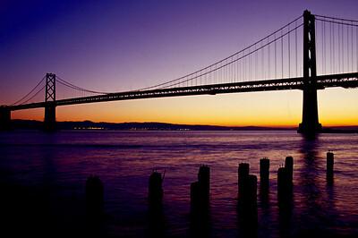 Bay Bridge before sunrise, San Fransisco, California