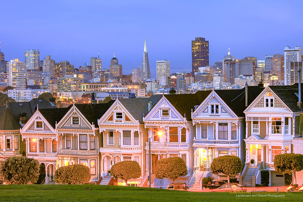 """Painted Ladies"" <br>Location: Alamo Square, San Francisco, California.  <p><p>Photographing San Francisco is never complete without capturing an image of these victorian style homes, called as painted ladies.  <p>Tech Info: <br>Lens: Canon EF 70-200 f/4L IS @ 97mm <br>Camera: Canon EOS 5D Mk II <br>Exposure: 93sec at f/18 at ISO 50 <br>Filters: No filters"