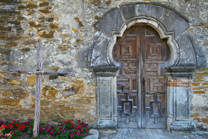 Mission Espada Entrance Detail - San Antonio, Texas