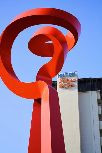 Red Statue with the Hilton - San Antonio, Texas