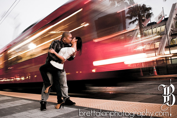 San Diego Engagement Photography. San Diego Convention Center Trolley Station.