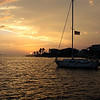 Golden Sunset<br /> Sail Boat at Sunset.<br /> Galveston Island, Texas