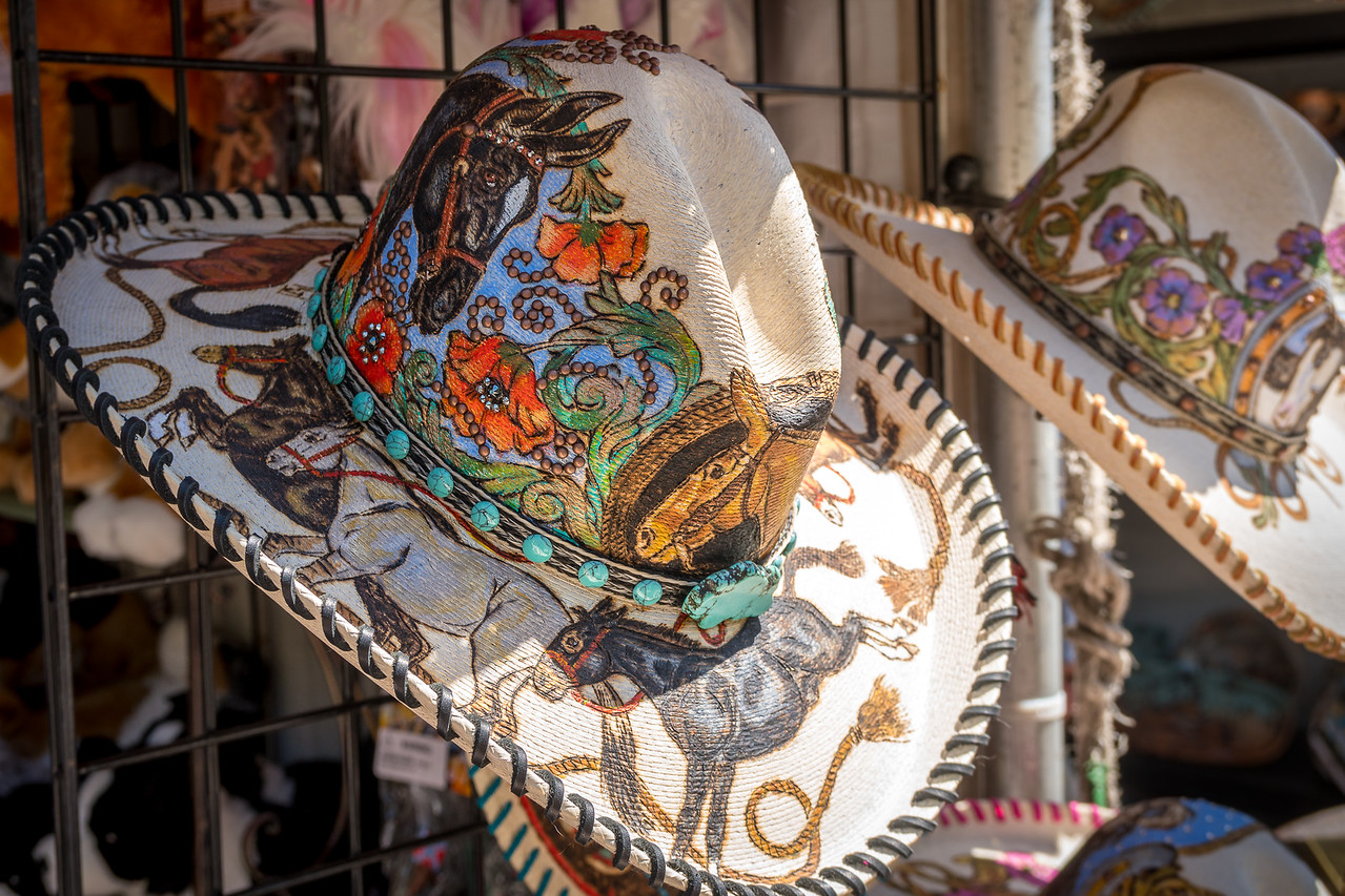California cowboy hat in a vendor's booth at the Cowboy Festival