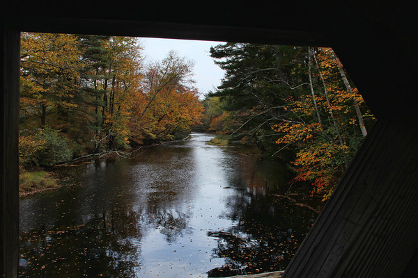 Fall, from a Bridge<br /> Dalton Covered Bridge, <br /> Warner, NH