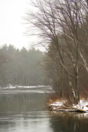 Rainy, Winter day along the Winnepesaukee River<br /> Tilton, NH
