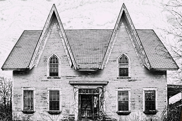 The Old House at 3 corners in Weare, NH. Pencil sketch effects