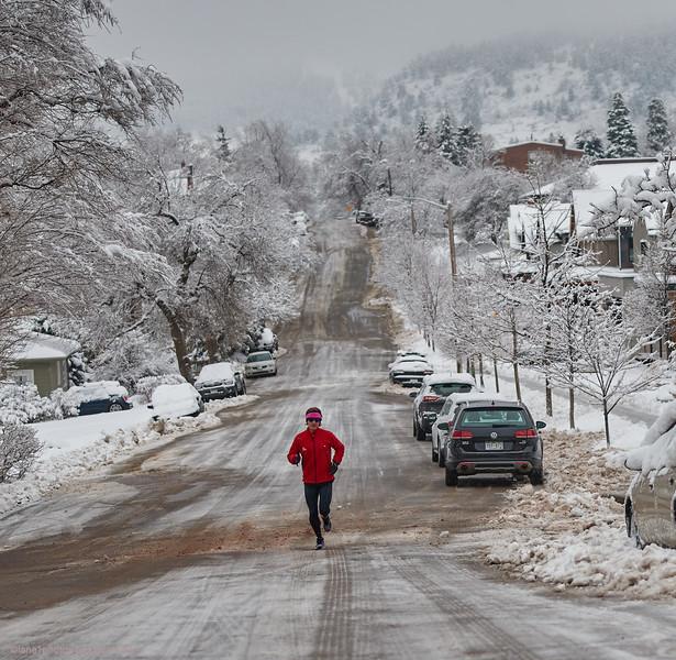 Coronavirus run on empty street