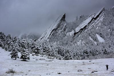 Spring Snow, Flatirons, Boulder Colorado