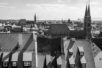 Über den Dächern von Nürnberg, Nürnberg, Mittelfranken, Bayern, Deutschland