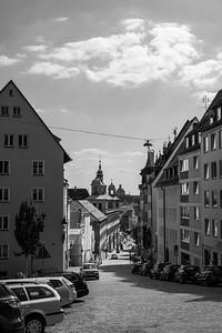Vom Kaiserschloss zum Marktplatz, Nürnberg, Mittelfranken, Bayern, Deutschland