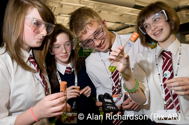 Pic Alan Richardson Dundee Pix-Ar.co.uk .<br /> Hannah Burnett, Mary Kemp-Bruce Jack Dryden anf Lucy Telfer from George Watson's with their presentation An investigation into the amount of chlorophyll in differnt lef types<br /> Hundreds of Scotland's most aspiring and talented young scientists and engineers showcased their inventions and creations at the first ever Big Bang Scotland The one-day Fair, Scotland's first Big Bang, will highlight an impressive array of over 70 innovations, inventions and investigations underpinned by Science, Technology, Engineering and Mathematics (STEM). Around 240 pupils from over 30 schools will compete at the University of Abertay Dundee event, either as individuals or in teams, with judges including Heather 'the Weather' Reid and Scotland's Chief Scientific Adviser Professor Anne Glover. Creations and inventions to be on show will include a recycling bin for classrooms, decorative garden gate, gaming chair, dirt bike transporter, ground source heat pump for heating outdoor swimming pools and an inventive way of shielding road accidents from passers-by.  Meanwhile, investigative projects being showcased will range from one exploring the power of waves to the grip of different shoes and others focusing on the nutritional intake of vegans, stain removal, food labelling, shampoos and whether girls or boys have a better sense of smell. The pupils will be vying for a range of prestigious awards including nomination to the national event the following year and three new prizes sponsored by the Scottish Government. The national contest was open to pupils aged 11 to 19, with entrants spanning the length and breadth of Scotland, some of whom required to spend up to 80 hours on their projects. The event will also be open to visiting schools and other interested parties. A host of exciting workshops and shows will also be on offer to illustrate the fun, excitement and relevance of science including 'Bend it like Beckham' arguing that Beckham 