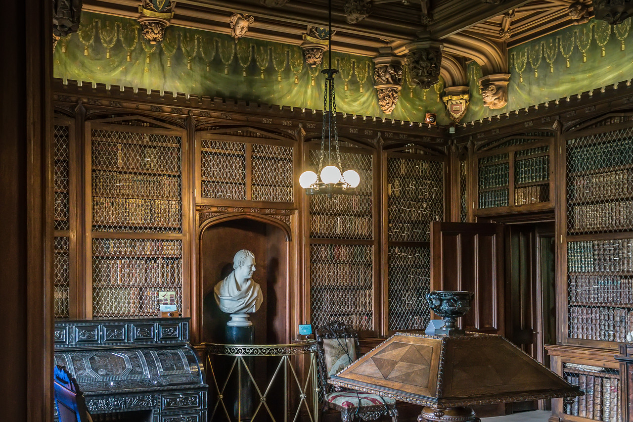 Abbotsford Library with bust of Sir Walter Scott